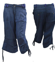 New Ladies Cropped Linen Trousers Womens 3/4 Length Shorts UK Sizes 8-14