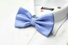 MENS Luxury 2 Layer PALE BLUE & WHITE Polka Dot Dickie Bow Tie Adjustable NEW