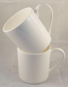 Pair of Large 1pt White Bone China Mugs