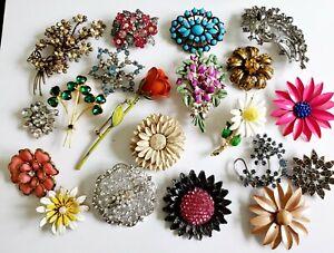 Vintage & Modern Enamel Rhinestone Flower Pin Brooch Lot