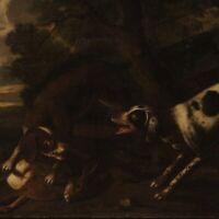 Antico dipinto quadro olio su tela paesaggio scena di caccia 700 XVIII secolo