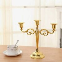 1pc Candelabra Decoration Gold 3 Arms Candle Holder Metal Pillar Candlestick New