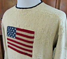 VTG POLO RALPH LAUREN HAND KNIT MENS XL AMERICAN FLAG SNOWFLAKE CREWNECK SWEATER