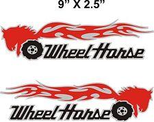"Pair WHEEL HORSE FLAMING  tractor vinyl decals  9"" x 2.5"" EACH"