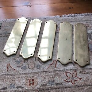 x5 Matching Door Brass Finger Plate Gold Antique Vintage Solid Reclaimed Salvage