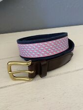 VINEYARD VINES BELT SIZE 34 LEATHER/FABRIC IN GREAT CONDITION  Pink Blue Whales