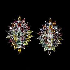 TOP MULTI COLOR SAPHIRE EARRINGS : Natürliche Mehrfarbig Saphir Ohrringe  E257