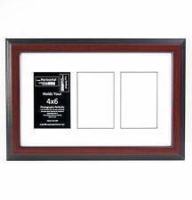3 Opening 4x6 Glass Face Mahogany Picture Frame W/ 10x16 White Mat Collage
