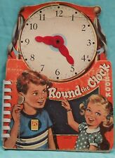 VNTG.1968 ROUND THE CLOCK  BOOK Teaches Time & Hands Move Hard Cover