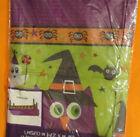 "Orange Purple Green Bats O wl SPIDERS Plastic table cloth - 54"" X 108"" Halloween"