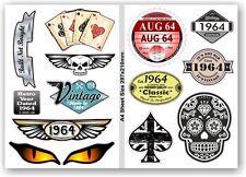 A4 FOGLIO RETRO ANNO datato 1964 Set 12 vinile per auto moto casco adesivo decal