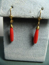 VTG UNDYED SALMON RED CORAL SILVER GOLD WASH   DANGLE EARRINGS