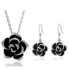 Black Camellia Flower Jewellery Set Drop Earrings & Necklace Pendant S705