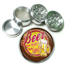 "Vintage Poster D243 Aluminum Herb Grinder 2.5"" 63mm 4 Piece Beer Cheaper Gas"