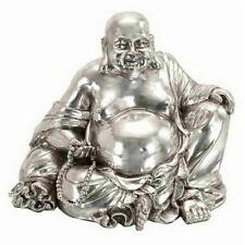 8 Inch High Sitting Laughing Buddha Sculpture  Silver Color