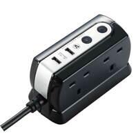 Masterplug 1M 4 Gang Compact Surge Extension Lead with 2 x 2.1 USB Black Gloss