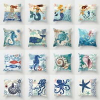 Pillow Cover Mermaid Ocean Sea Animals Throw Pillow Case Sofa Cushion Home Decor