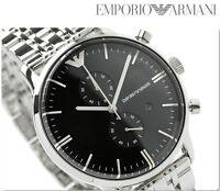 BRAND NEW EMPORIO ARMANI BLACK DIAL STAINLESS STEEL CHRONOGRAPH MEN WATCH AR0389