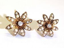 Sweet Antique Victorian 14K Gold Daisy Seed Pearl and Diamond Earring Studs