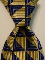CHARLES HILL Men's 100% Silk Necktie ENGLAND Luxury Geometric Yellow/Blue EUC
