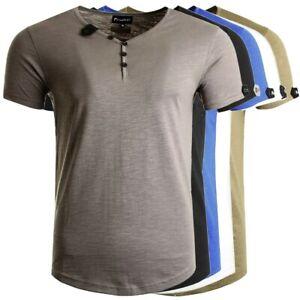 Früchtl Herren T-Shirt mit V-Ausschnitt und Knopfleiste aus 100% Baumwolle