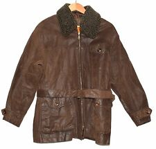 Outbrook Dark Brown Distressed Leather & Faux Lamb Fur Collar Belted Jacket Sz L