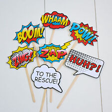 7Pcs Photo Booth Photobooth Birthday Props Super Heroes Kids Party Prop DIY