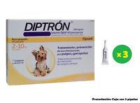 Caja 3 Pipetas anti pulgas y garrapatas para perros de 2-10 Kg DIPTRON 0,67 ml