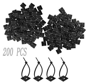 200PCS Cable Clips Self-Adhesive Cord Management Wire Holder Organizer Clamp