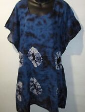 Top Fits L XL 1X 2X 3X 4X Plus Navy Blue Tie Dye Caftan Long Tunic NWT G011