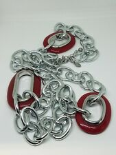 Chico's Silver Tone Red Plastic Long Link Chain Necklace