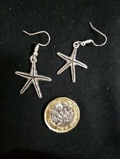 Sea life Star Fish Earrings Shiny Glitter Effect Tibetan Silver