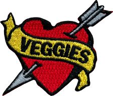 6276 Veggies Heart Banner Arrow Vegetarian Vegan Love Embroidered Iron On Patch