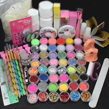 Pro Acrylic Liquid Nail Tips Art Brush Glue Glitter Powder Buffer Tools Set Kit