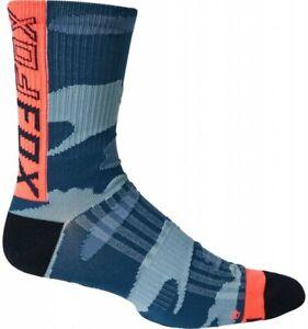 "Fox 6"" Ranger Socks Blue Camo - S/M, L/XL - Mountain Bike MTB Cycling"