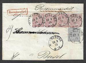 Recommandirter Auslandsbrief nach Basel Mi.16(Vierereinheit)+17 gest.13.3.71