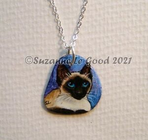Siamese cat art pendant sea slate painting original hand painted Suzanne Le Good