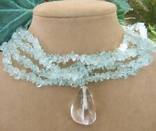 TURQUOISE AQUA BLUE CLEAR BUBBLE ICY GEM BIG QUARTZ PENDANT NECKLACE BRIDAL GEMS