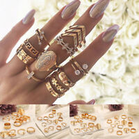 13Pcs/Set Boho Punk Gold Midi Finger Ring Vintage Crystal Knuckle Rings Jewelry