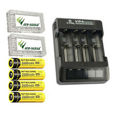 XTAR VP4 Charger w/4x NL186 Rechargeable 18650 Batteries +2x Battery Cases