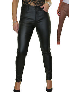 Womens High Waist Stretch Leather Look Jeans Wet Look 10-20