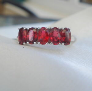 1.44ct Certified Bright Red Spinel White Gold Band Ring