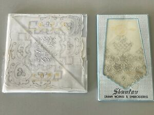 Shanton Set of 2 VTG Hand And Drawn Works Embroideries Handkerchiefs New In Box