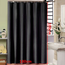 Fabric Shower Curtain Plain White/Black With Weighted Hem & With Hooks Rings