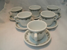 Shenango Gray/Green Scroll RimRol Restaurant 6 Coffee Tea Cup & Saucer Sets EC