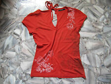Vero Moda T-Shirt Gr.S Rot Sommer Top Weiß geblümt V-Ausschnitt
