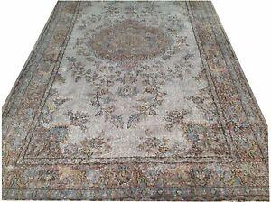 "8'10"" x 5'3  GRAY TEAL blue aqua TURKISH  oushak  Vintage Overdyed carpet rug"