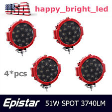 4X 7inch 51w Round LED Work Light Spot Offroad Red Slim Driving Boat Jeep Bumper