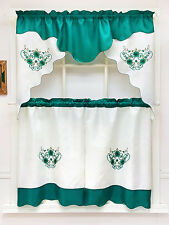 DAISY DREAM. 3pcs EMBROIDERY double valance kitchen curtain set TEAL GREEN color