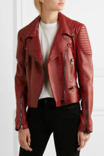 New Genuine Leather CLASSIC FITTED BIKER JACKET Shoulder Quilting Metal Zip Sale